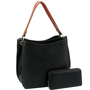 LQF013-2-1W Double Compartment Two-Tone Hobo Wallet SET Black
