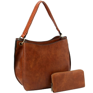 LQF013-2-1W Double Compartment Two-Tone Hobo Wallet SET Brown