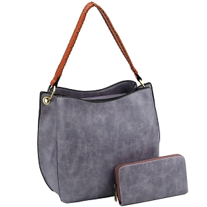 LQF013-2-1W Double Compartment Two-Tone Hobo Wallet SET Lilac