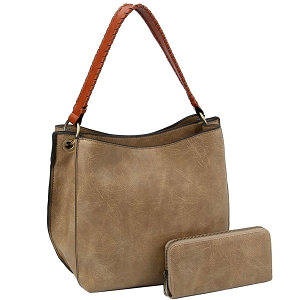 LQF013-2-1W Double Compartment Two-Tone Hobo Wallet SET Mocha