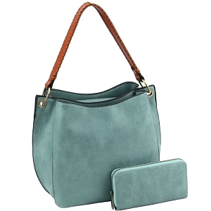 LQF013-2-1W Double Compartment Two-Tone Hobo Wallet SET Turquoise