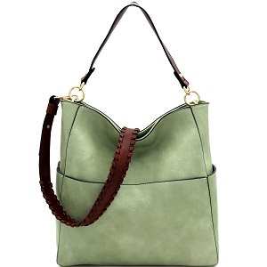 LQF016-1 Whipstitched Strap Multi-Pocket 2-Way Large Hobo Sea-Foam