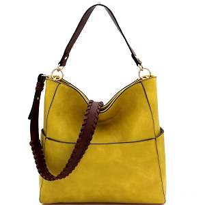 LQF016-1 Whipstitched Strap Multi-Pocket 2-Way Large Hobo Yellow