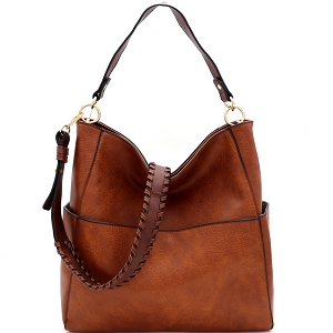 LQF016-3 Whipstitched Strap Multi-Pocket 2-Way Large Hobo Brown