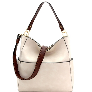 LQF016-2 Whipstitched Strap Multi-Pocket 2-Way Large Hobo Off-White