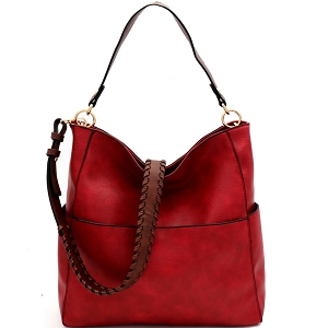 LQF016-1 Whipstitched Strap Multi-Pocket 2-Way Large Hobo Red