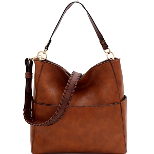 LQF016-1 Whipstitched Strap Multi-Pocket 2-Way Large Hobo Brown