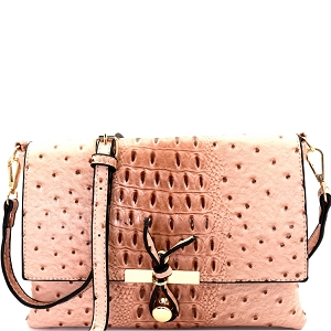 LR029O Ostrich Print Embossed Knot Accent Flap Cross Body Blush