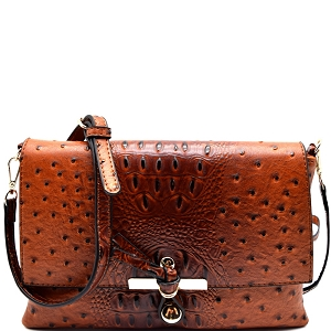 LR029O Ostrich Print Embossed Knot Accent Flap Cross Body Cognac