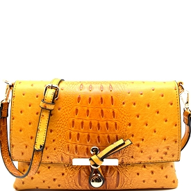 LR029O Ostrich Print Embossed Knot Accent Flap Cross Body Mustard