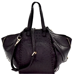 LSD003O Zipper Accent Ostrich Embossed 2-Way Satchel Black
