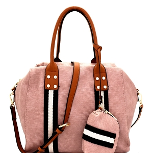 LSD012 Stripe Accent 2 Way Tote with Pouch Blush