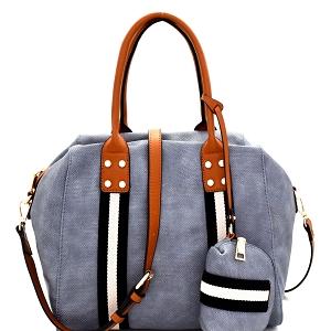 LSD012 Stripe Accent 2 Way Tote with Pouch Denim