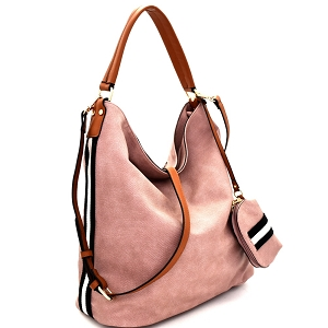 LSD013 Striped Side Single Strap 2 in 1 Hobo with Pouch Blush