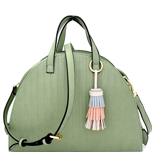 LV062 Multi-colored tassel Accent Drawstring Textured Half-moon Satchel Green