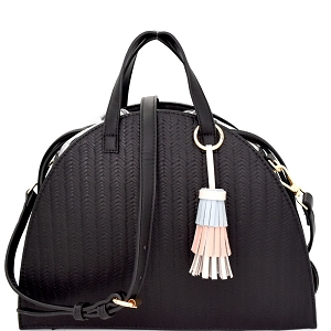 LV062 Multi-colored tassel Accent Drawstring Textured Half-moon Satchel Black