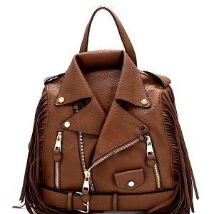 LY042-2 Moto Jacket Design Fringed Fashion Backpack Brown