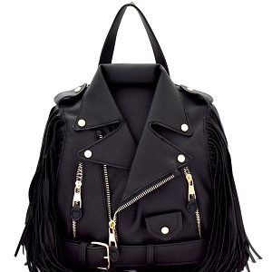 LY042-2 Unique Moto Jacket Design Fringed Fashion Backpack Black
