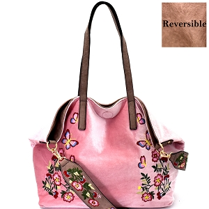 LY089 Flower Embroidered Velvet Reversible 2-Way Tote Blush