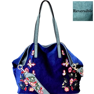 LY089 Flower Embroidered Velvet Reversible 2-Way Tote Blue