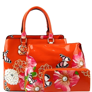 LY0962W Flower Butterfly Print Patent 2 in 1 Satchel Wallet SET Orange