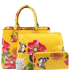LY0962W Flower Butterfly Print Patent 2 in 1 Satchel Wallet SET Yellow