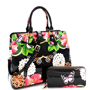 LY0962W Flower Butterfly Print Patent 2 in 1 Satchel Wallet SET Black