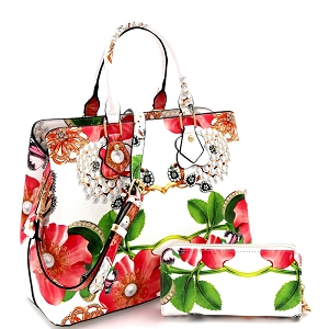 LY0962W Flower Butterfly Print Patent 2 in 1 Satchel Wallet SET Beige