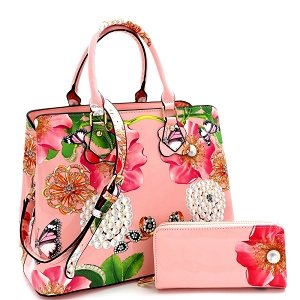 LY0962W Flower Butterfly Print Patent 2 in 1 Satchel Wallet SET Blush