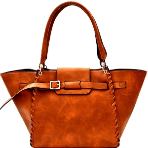LY115 Whipstitched Buckle Accent Wing Tote Cognac