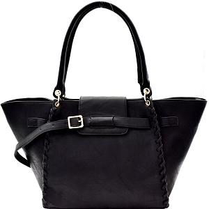 LY115 Whipstitched Buckle Accent Wing Tote Black