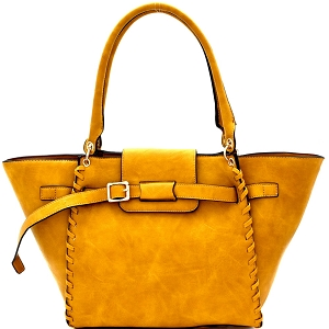 LY115 Whipstitched Buckle Accent Wing Tote Mustard