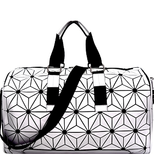 LYX005 Geometry Patchwork Weekender Duffel Bag Silver