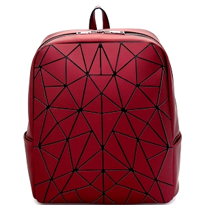 LYX006 Geometry Patchwork Fashion Backpack Burgundy