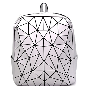 LYX006 Geometry Patchwork Fashion Backpack Silver
