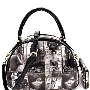 PQ0011W Magazine Print Bottom Compartment Satchel Wallet SET Black/White