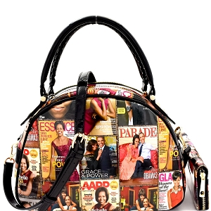 PQ0011W Magazine Print Bottom Compartment Satchel Wallet SET Multi