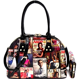 PQ0021W Magazine Print Compartment Dome Satchel Wallet SET Multi
