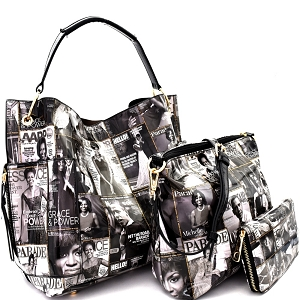 PQ0101W Magazine Print Side Pocket 3 in 1 Hobo Wallet SET Black/White