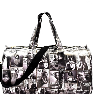PQ017 Magazine Print Patent Weekender Duffel Bag Black/White
