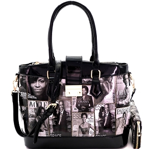 PQ0381W Magazine Print 3-Compartment Satchel Wallet SET Black/White