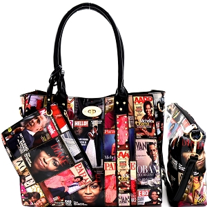 PQ043 Magazine Print Studded Patent 3 in 1 Tote Value SET Multi
