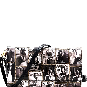 PQS008 Magazine Print Smartphone Friendly Wallet Cross Body Black/White