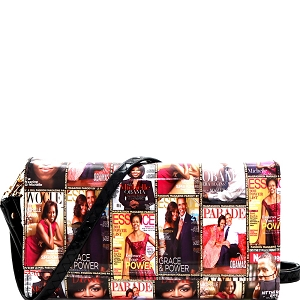 PQS008 Magazine Print Smartphone Friendly Wallet Cross Body Multi