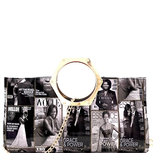 PQ035 Metal Handle Magazine Print Patent Clutch Black/White