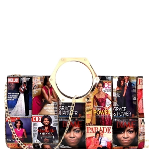 PQ035 Metal Handle Magazine Print Patent Clutch Multi