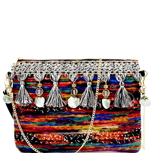 2610-1 Tassel Pompom Accent Multi-Color Fur Thread Clutch Yellow