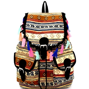 BP6040 Thread Tassel Accent Aztec Tribal Drawstring Backpack Brown
