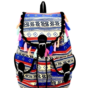 BP6040 Thread Tassel Accent Aztec Tribal Drawstring Backpack Blue