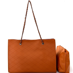 F5052 Classy Quilted 2 in 1 Chain Tote Shoulder Bag Brown